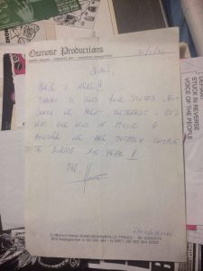 Osmose's Rejection Letter to Juanes, 1992