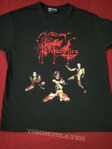 "T-shirt with the eventual cover for the unreleased PROFANATICA album ""The Raping of the Virgin Mary""."